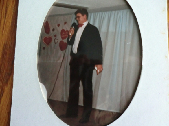 My husband wearing the suit at a Valentine Banquet, 1997.