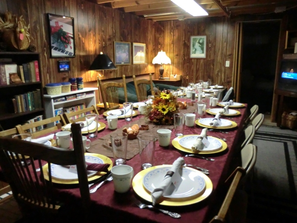 My TV room set up for Thanksgiving dinner.