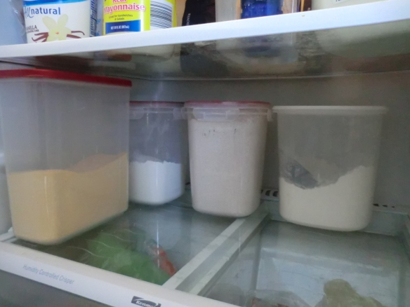 I store my flour in the refrigerator.