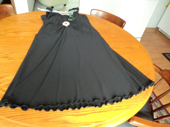 I used the zigzag stitch to lengthen my little black dress.