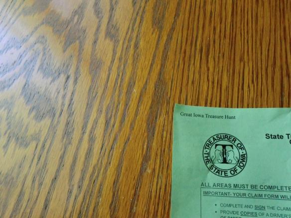 "Form from the ""Great Iowa Treasure Hunt."""