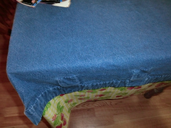 My sister's denim tablecloth!