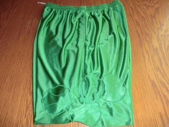 The basketball shorts I repaired with the material from the pockets.