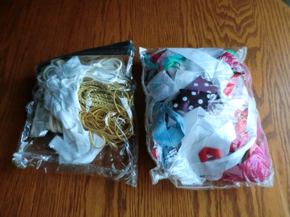 My collection of cloth ribbons, cords and satin ribbons.