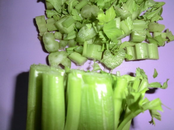 Chopped celery for stuffing.