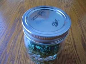 Jar of dehydrated parsley