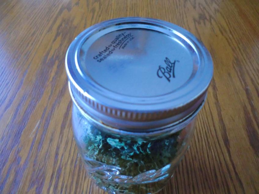 Jar of dehydrated parsley