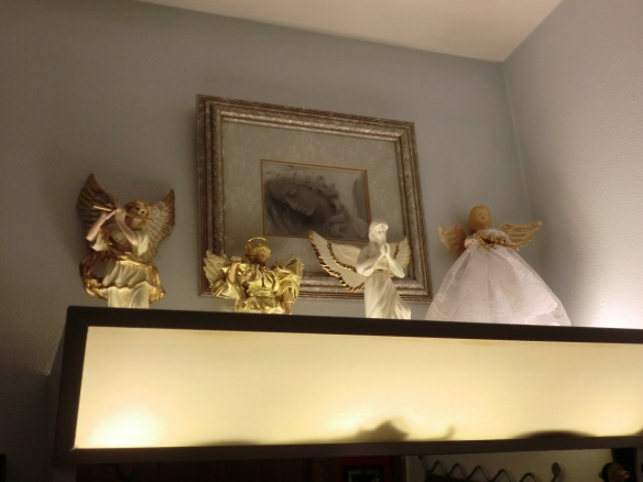 My angel collection ended up in the bathroom.