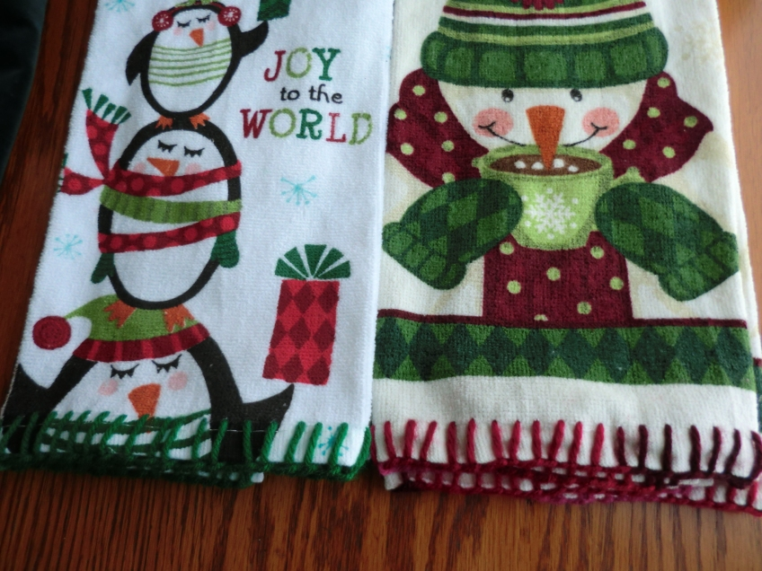 2 Christmas towels