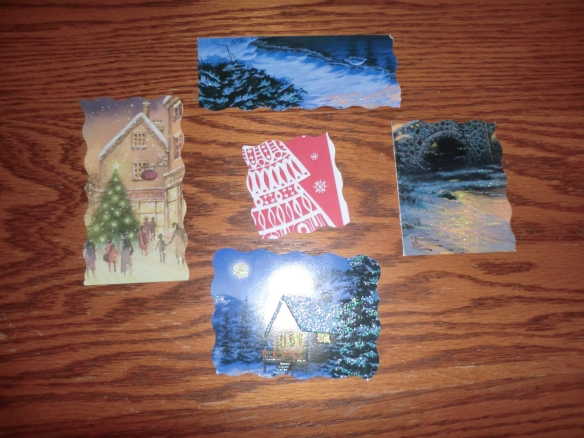The tags my friend Jill made out of Christmas cards.