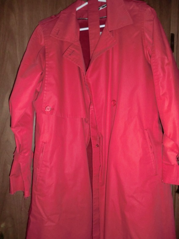 "My ""new"" red trench coat with a detachable liner."