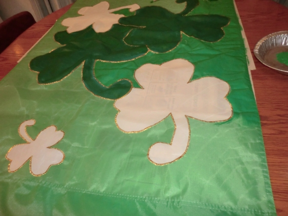 Painting my St. Patrick's Day Flag.