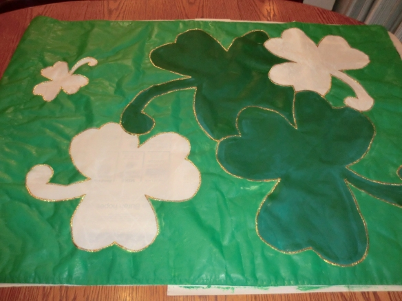 My one-of-a-kind, hand-painted St, Patrick's Day flag!