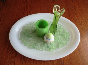 My Easter centerpiece, whose inspiration was the striations in the glass rocks.