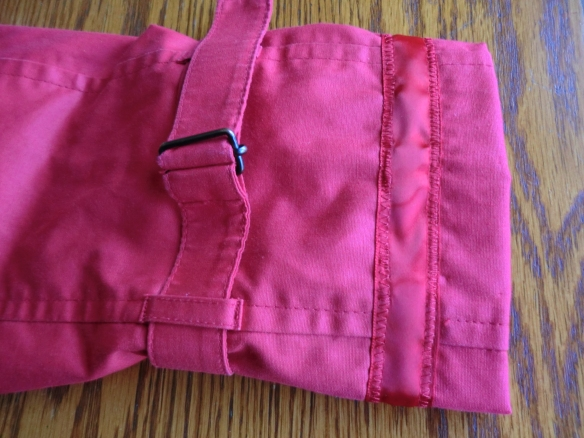 I decorated the sleeve of my new, red trench coat.