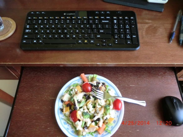 I put the keyboard on the top level while I eat lunch.
