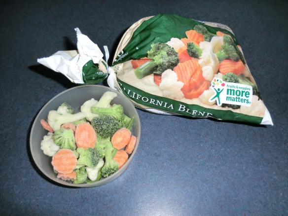 Thawing a small portion of frozen vegetables.