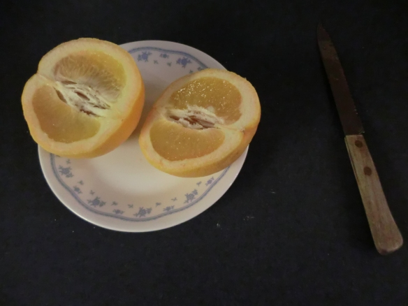 Slice grapefruit from top to bottom.