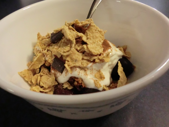 Special K Dark Chocolate cereal sprinkled over yogurt and fresh fruit.