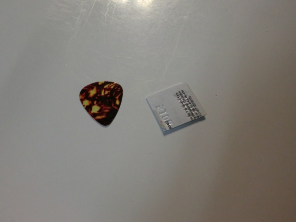 A substitute guitar pick.