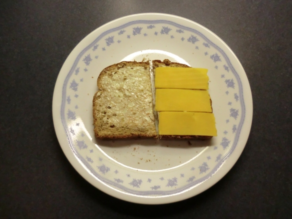 My cheese sandwich with thin slices using a different cheese slicer.