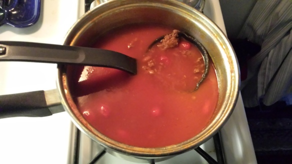 Chili made with formerly wrinkled grape tomatoes.
