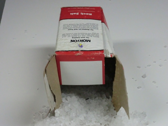 The box of rock salt I use as decorative snow.