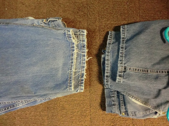 "The pair on the left still has the ""fringe"" on the leg openings. The pair on the right had the white ""fringe"" removed."