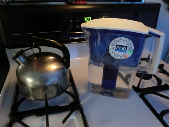 Boil purified water in a tea kettle until it whistles.