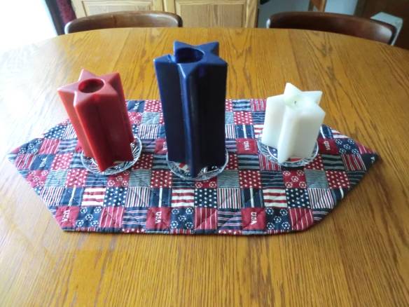 My 2015 Patriotic centerpiece with my homemade runner.