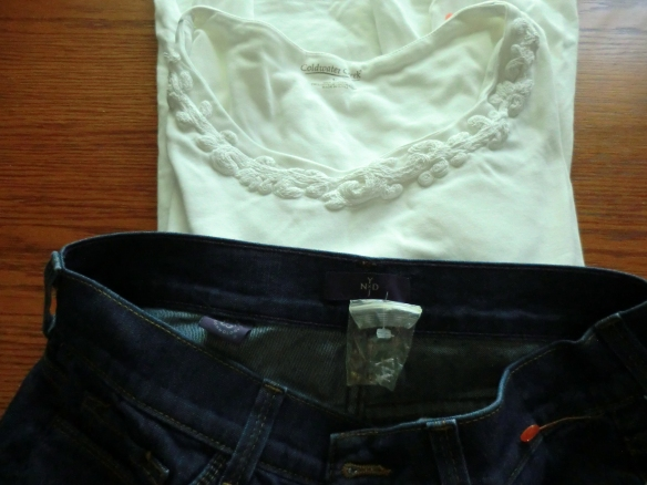 New NYDJ jeans, complete with tags, and a Coldwater Creek embellished tee.