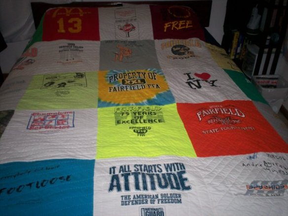 Tee shirt quilt I made for my son.