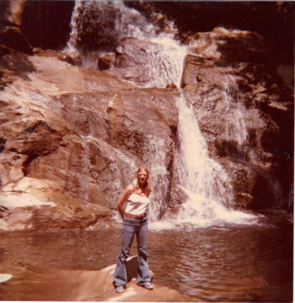 My sister, Michele, standing in front of our favorite falls in 1977.
