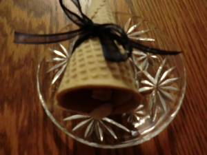 My granddaughter and daughter-in-law helped me make these out of waffle cones and homemade trail mix.