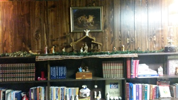 I placed my mangers scenes on my large bookshelf this year. Sometimes, I put my Christmas Village on top of it.