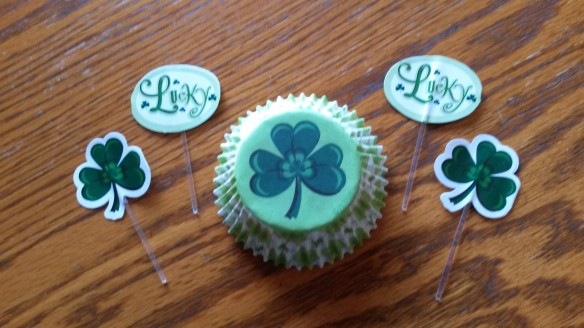 Shamrock cupcake papers and picks.