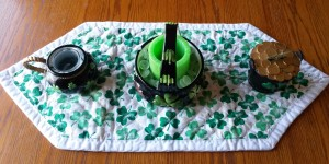 Shamrock bowls on homemade table runner.
