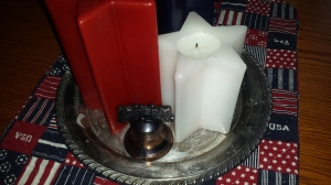 Star shaped candles and bell