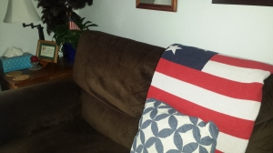 Throw and pillow on couch
