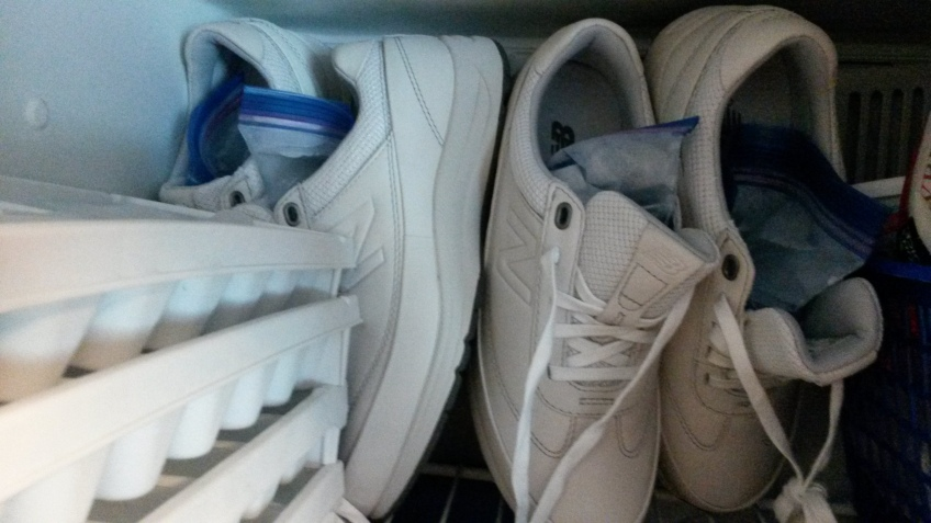 Shoes in a freezer