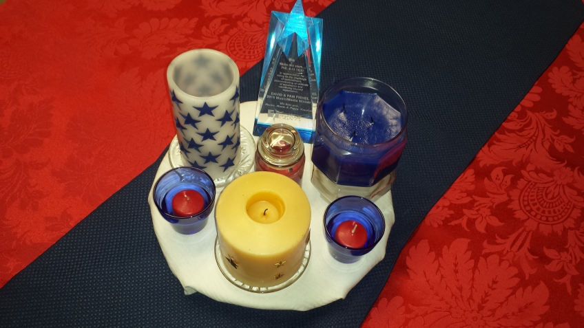 Candles on table runner