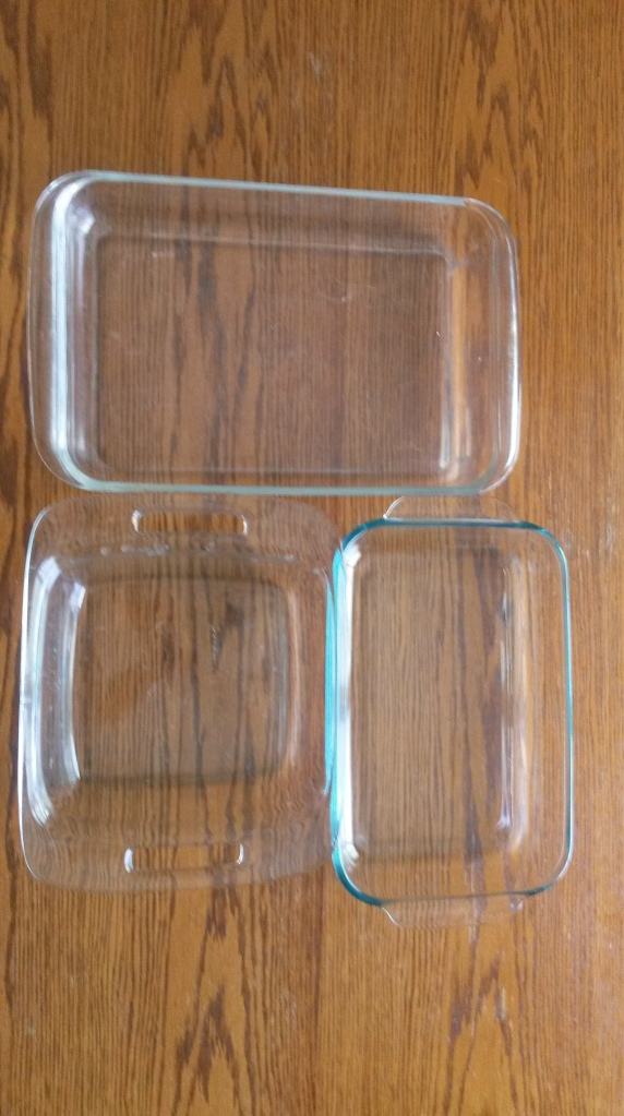 3 glass baking dishes