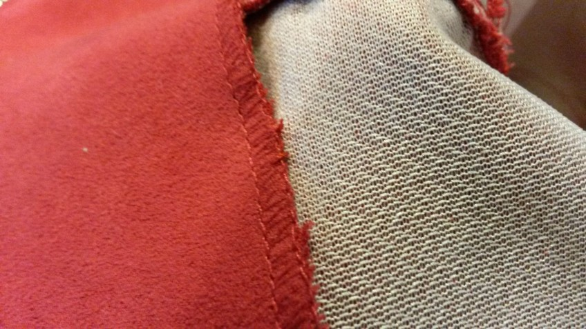 Jacket lining tacked down