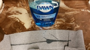 Dish soap and shirt collar