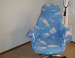 Snuggie covered office chair