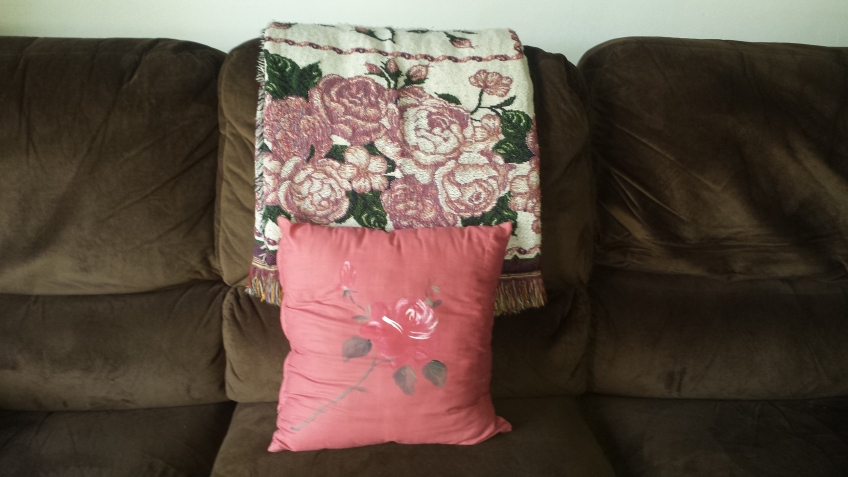 Roses throw with hand-painted rose pillow.