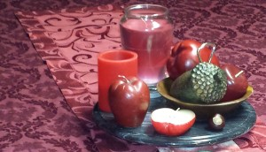 "Apple, acorn, candle, centerpiece, ""September Decoration Flip"" frugalfish.org"
