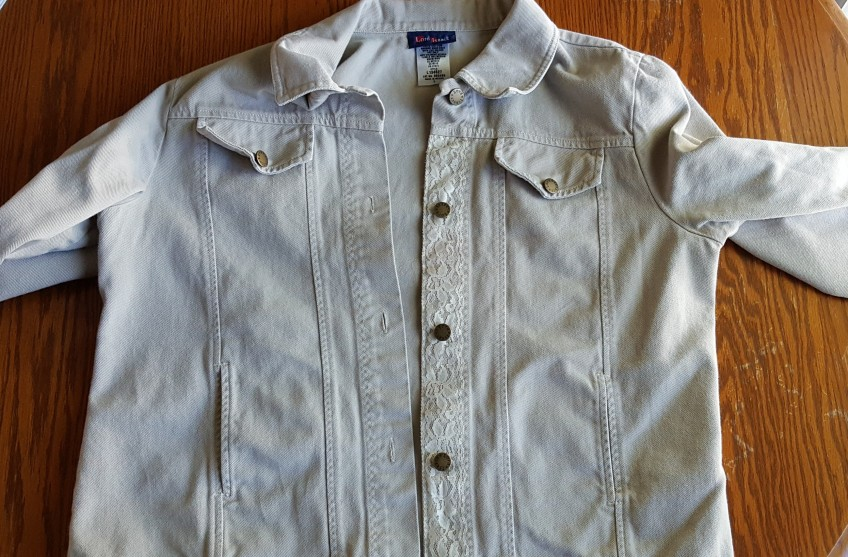 """Tan Jacket with lace accent, """"Still learning from Mom"""" frugalfish.org"""