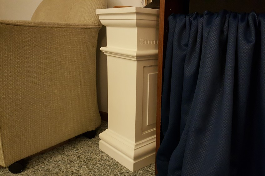 """Column Demo Makes a Side Table """"Surround Sight, Not Surround Sound"""" frugalfish.org"""