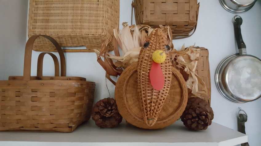 """Turkey made from Baskets """"Indian Summer Thanksgiving"""" frugalfish.org"""